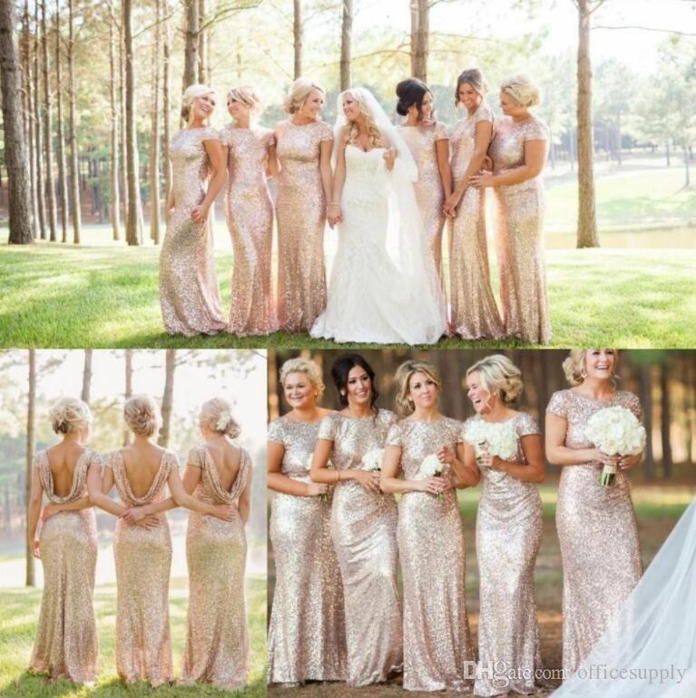 Gold Bling Sequined Cap Sleeves Long Bridesmaid Dresses