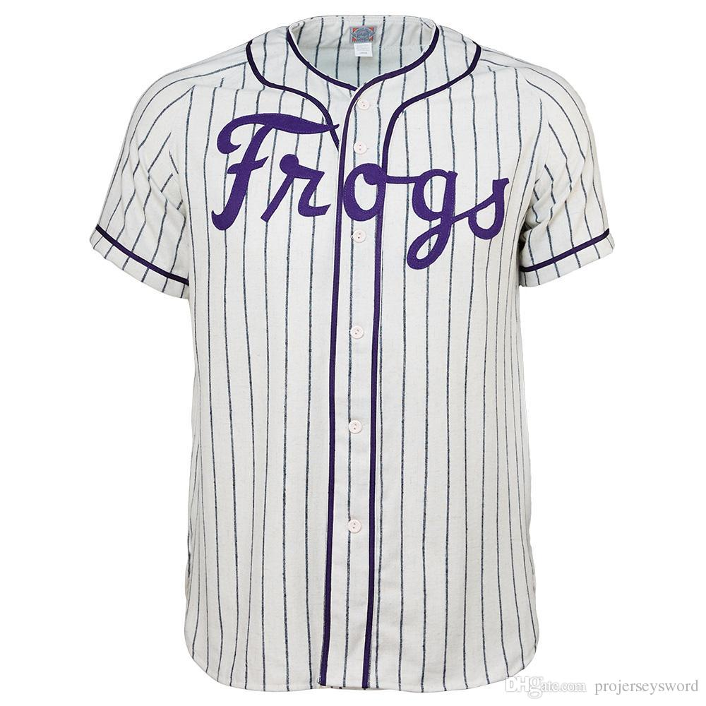 Texas Christian University 1963 Home Jersey 100% Jerseys Baseball costurado bordado Vintage personalizado qualquer nome faz Número frete grátis