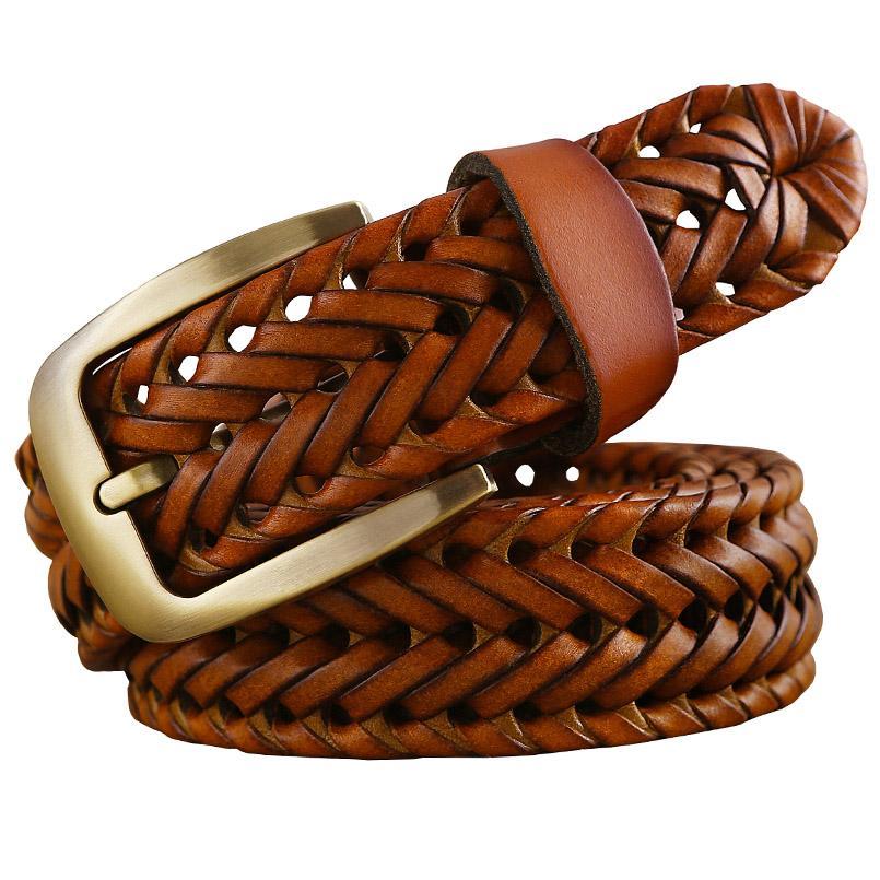 Compre Nuevo Cinturón Trenzado Hombre Moda Cinturones Para Hombre De Cuero  Genuino De Lujo Buena Vaca Segunda Capa Piel Correas Hombres Para Jeans Faja  ... 1d2394eedbdf