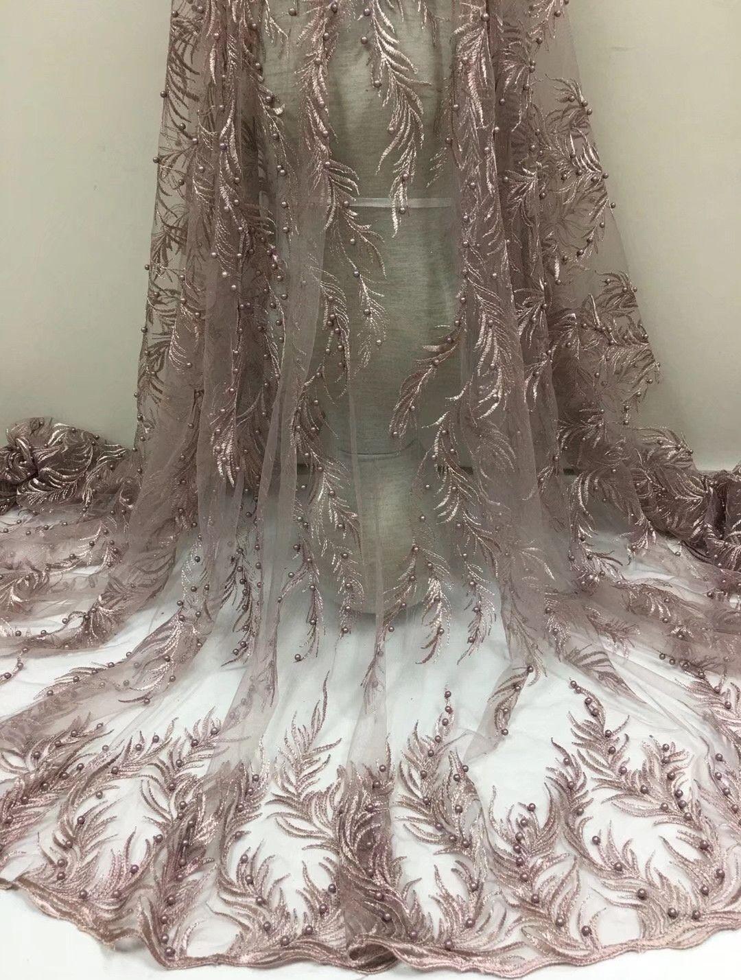 Neue Ankunft 5 Yards nigerianischen Spitze neue Design Französisch Hochzeitskleid für Partykleid, Afrika Spitze Stoff nähen gestickte Tüll Spitze diy Kleider
