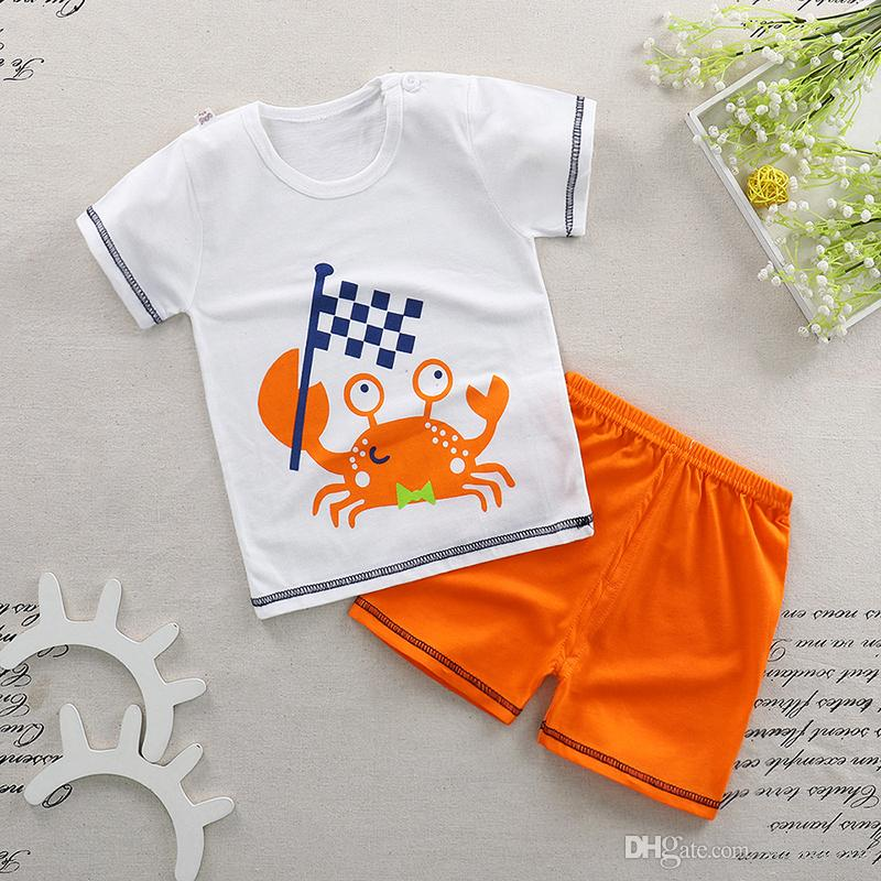 0365e7075 Retail New Baby Kids Pajamas Set Summer Children Short Sleeve Cotton ...