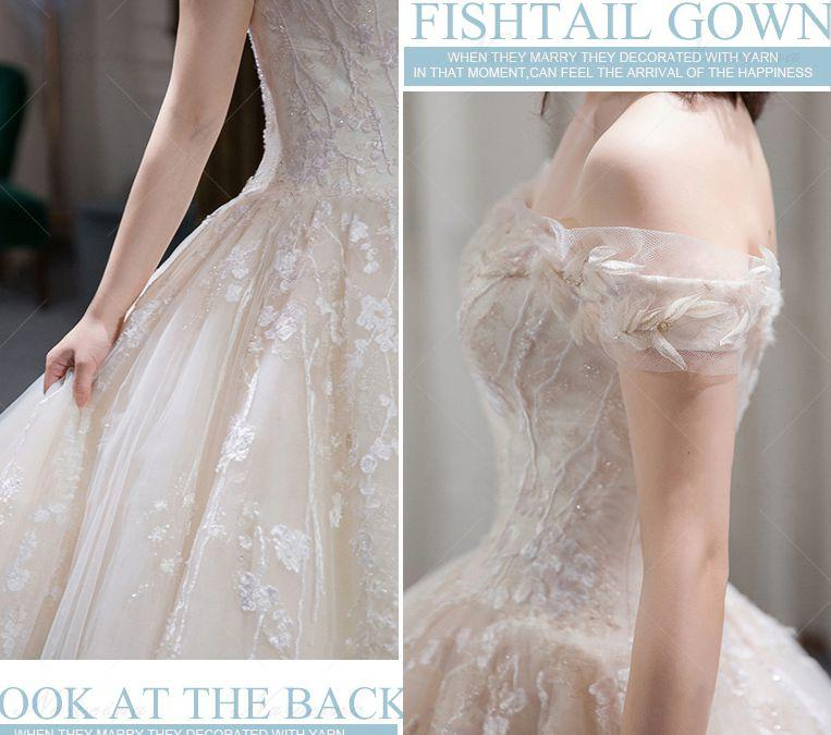 Customized Collection Embroidery Summer Lace Wedding Dress Bateau Tulle Princess Wedding Ball Gown Dress Big Sweep Train Flower Dress W05