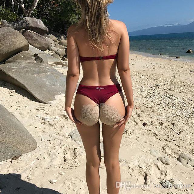 Bikini maillot de bain maillot de bain bikini dames nouvelles en acier en forme de V-maillot de bain couleur unie maillots de bain