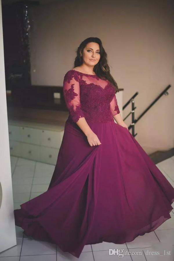 Elegant Plus Size Formal Dresses with Sleeves Scoop Neck A Line Floor Length Wine Red Lace and Chiffon 2019 Plus Size Prom Dresses