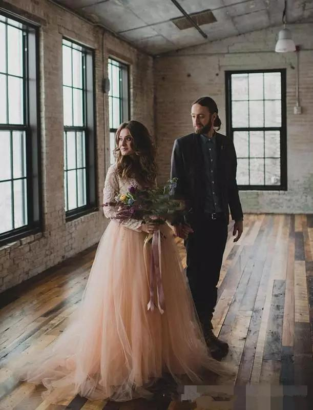 New Lace Blush Tulle Country Wedding Dresses with Long Sleeves V-Neck Bohemia Summer Beach Wedding Bridal Gowns Cheap A line Bridal Gowns