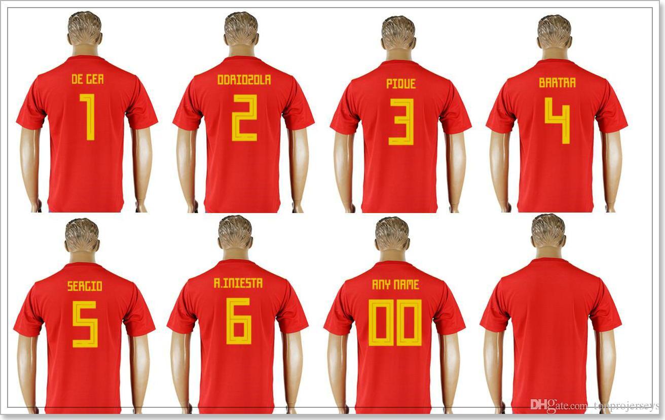 finest selection 0d08e a8cfe Spain 2018 Mens #1 David de Gea #2 Alvaro Odriozola 3 Gerard Pique 4 Marc  Bartra 5 Sergio Busquets 6 Iniesta Football Shirts Soccer Jerseys