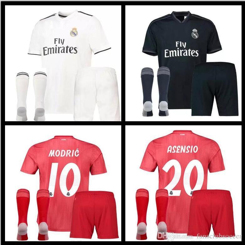 02c51755907f Men Kit +sock 2018 Real Madrid RONALDO Home Away Soccer Jersey 2018 ...