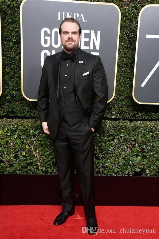 75th Golden Globe Awards Black Wedding Tuxedo Cheap Groomsmen Wear Classic Style Custom Made Men Suits Jacket+Pants+Vest+Tie
