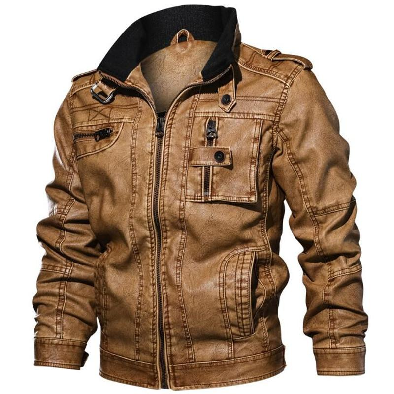 0478c63101f Mens Autumn Winter PU Faux Leather Jackets Motorcycle Fashion Zipper Bomber  Pilot Male Casual Coats Brand Clothing Plus Size 5XL Faux Leather Coats  Cheap ...
