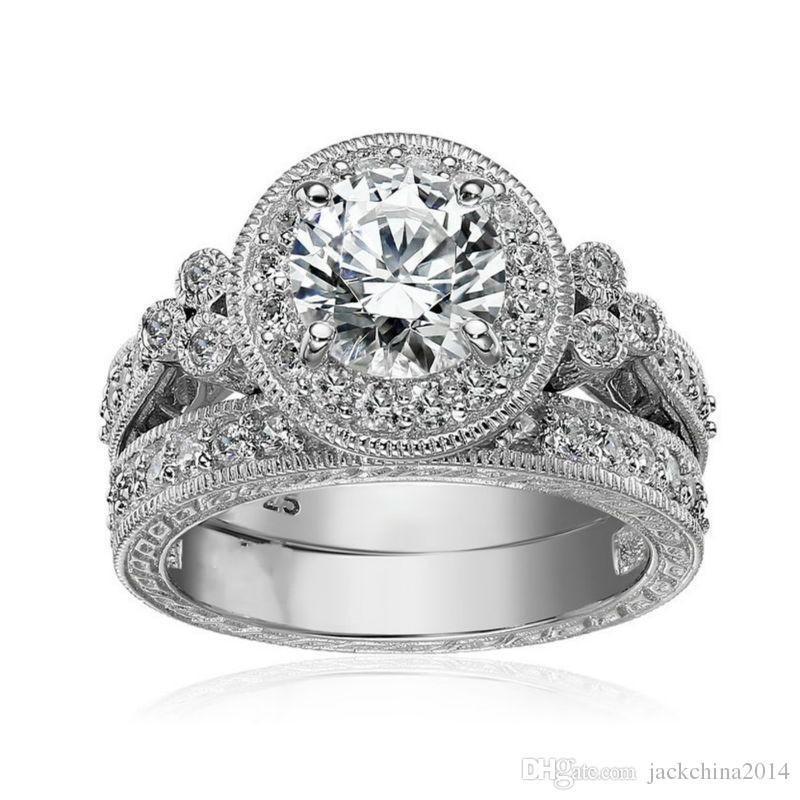 fbaf0ba7a86e Tamaño 5 6 7 8 9 10 Joyería Vintage Corte redondo Plata de ley 925 Topacio  blanco CZ Diamante Piedras preciosas Compromiso de boda Anillo de regalo  conjunto