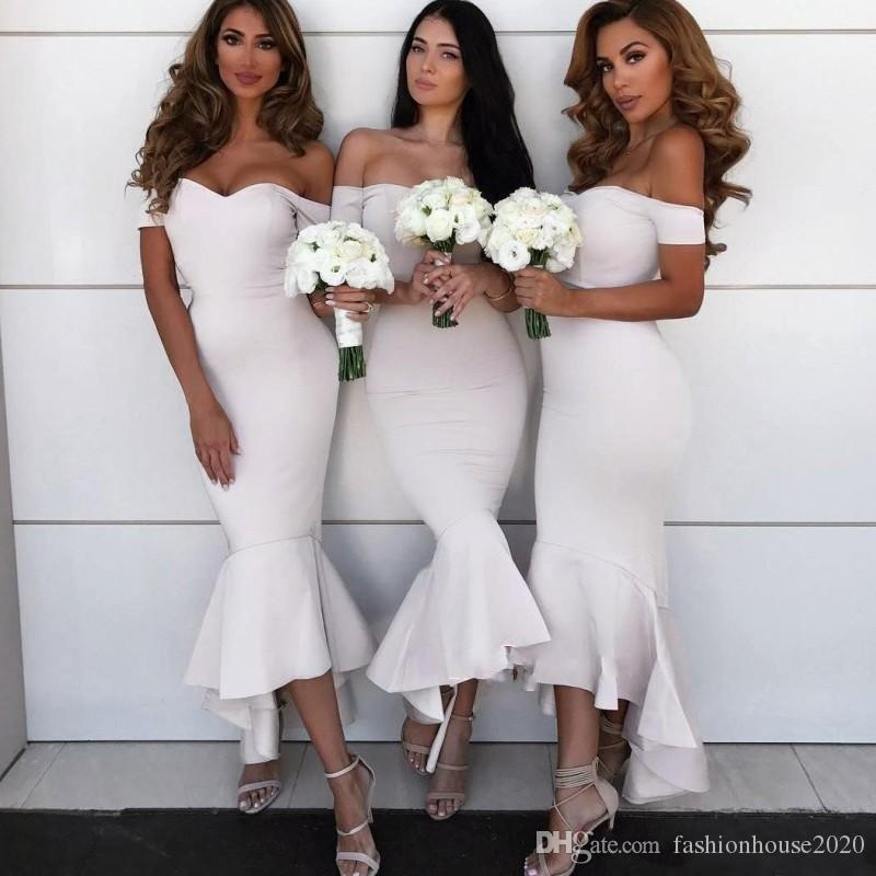 f1651424cc8 2018 Country Mermaid Short Bridesmaid Dresses Off Shoulder Cap Sleeves Low  V Back High Low Ruffles Wedding Guest Party Maid Of Honor Gowns Short  Bridesmaid ...