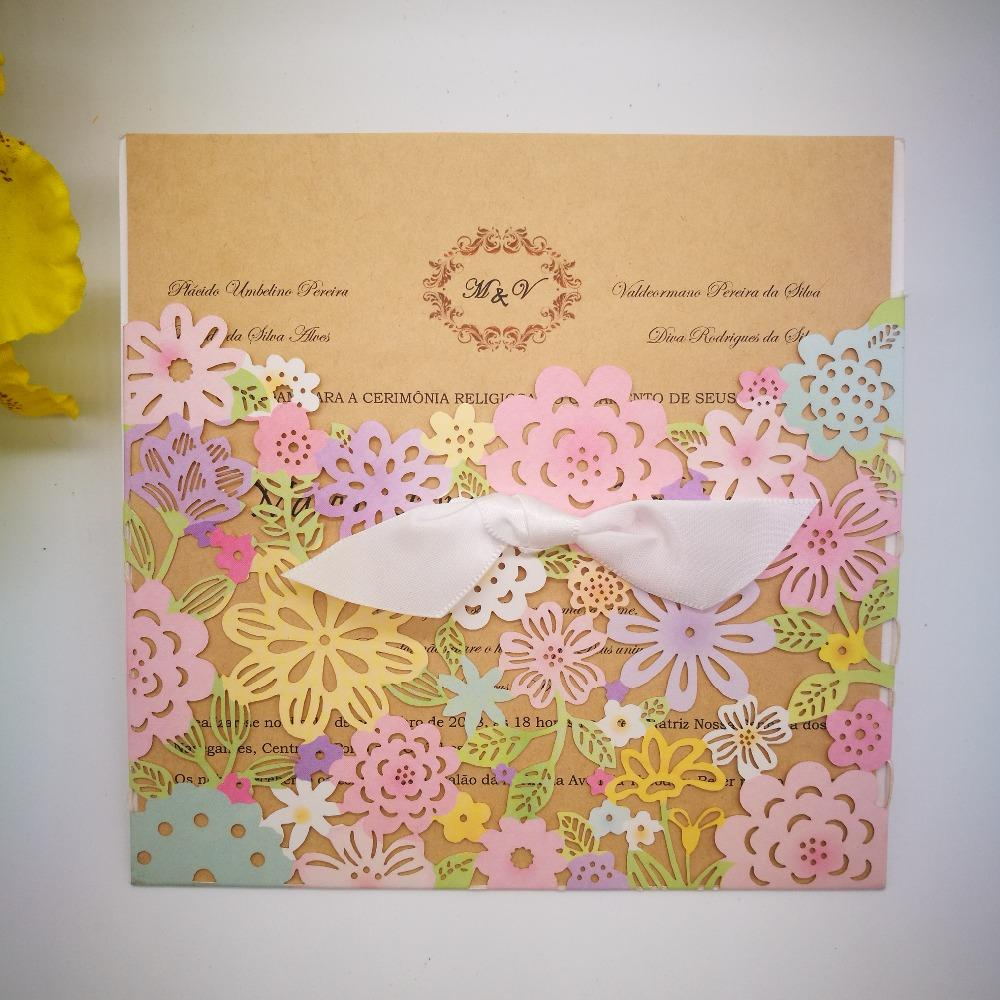 Wholesale Wedding Invitations Card Elegant Flowers Cards Girl Birthday Party Greeting Baby Shower Invitation Free Online Greetings