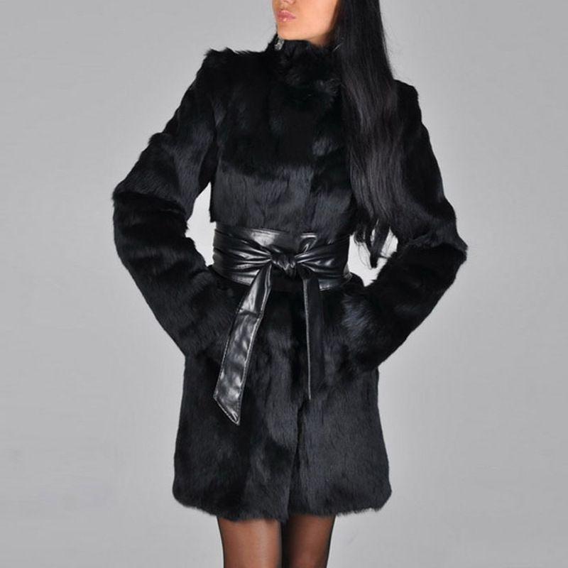 Avrupa ve Amerikan kadın sonbahar kış henning kürk sahte vizon ceket tilki kürk uzun taklit kürk ceket