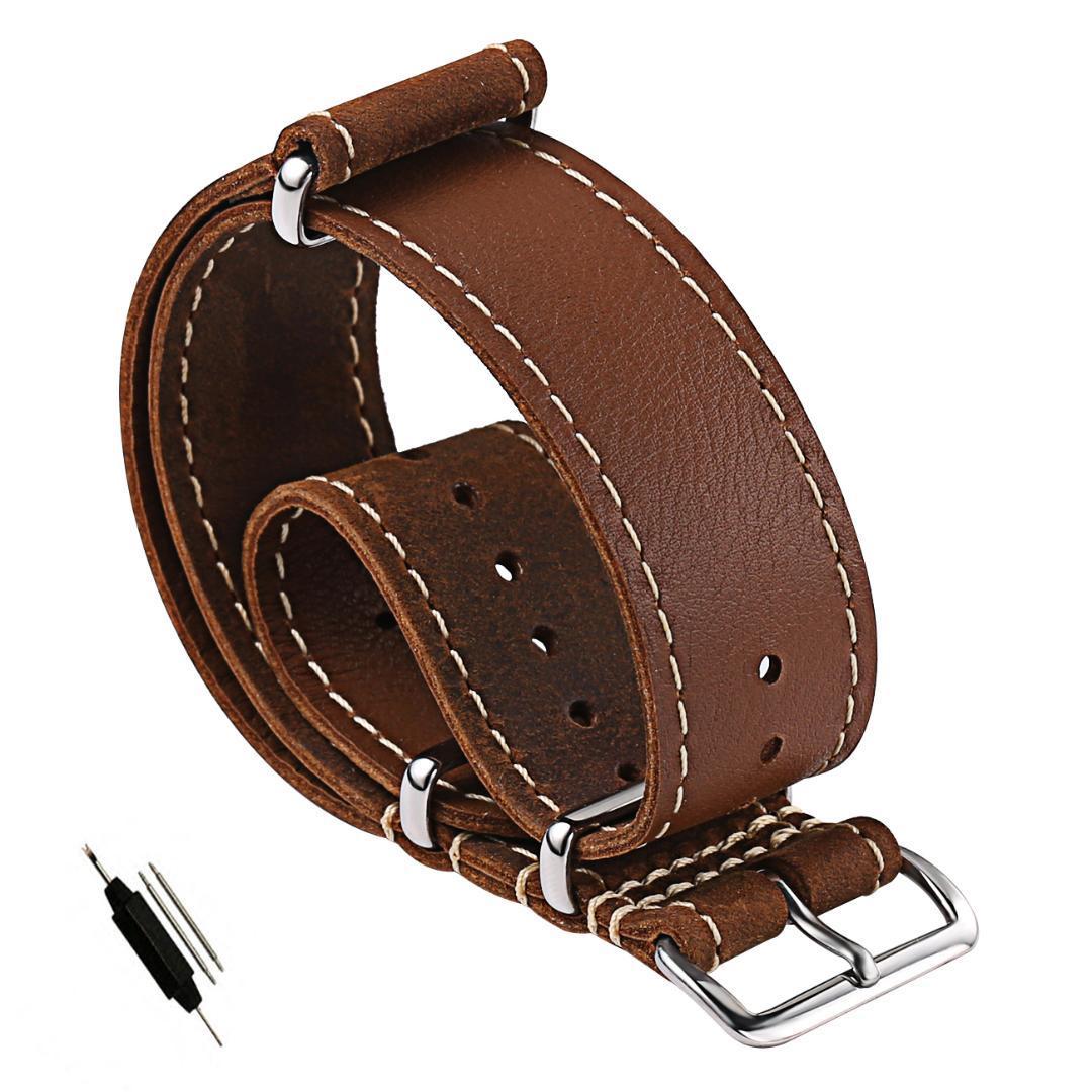 5223979ed52 Compre Carty 20mm 22mm Couro NATO Strap Replacement Banda Relógio Pulseira  De Relógio De Couro Do Vintage Cavalo Louco Handmade Zulu Macio À Prova D   Água ...