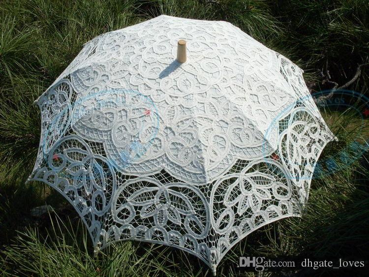 Vintage lace Parasol Umbrella for wedding party Bridal lace handmade wedding umbrellas white black and beige embroider lace parasol
