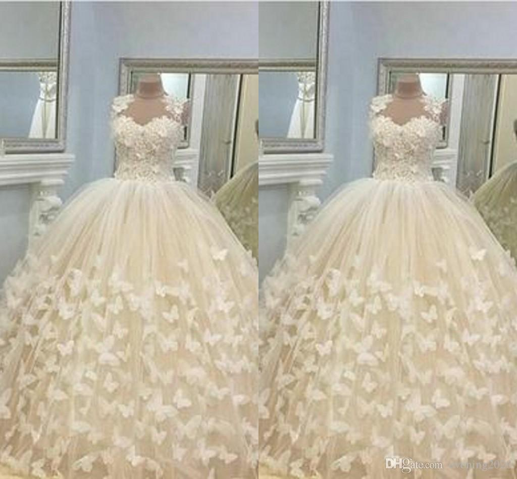 Non Traditional Floral Wedding Dresses: Newest Design Butterfly Wedding Dresses Ball Gowns Hand