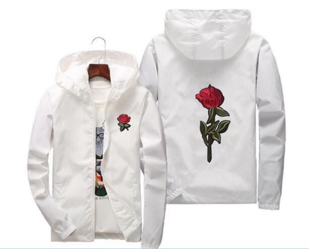 Rose Jacket 2018 Windbreaker Men And Women's Jacket New Fashion White And Black Roses Outwear Coat