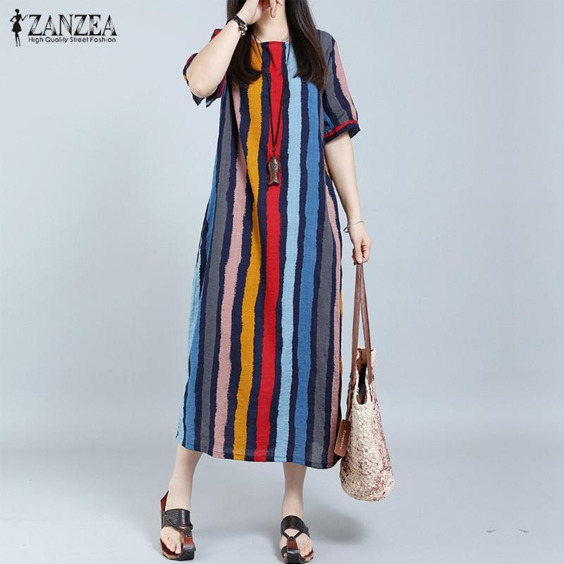 88cc7c2287 2019 ZANZEA Women Summer Dress 2018 Striped Plus Size Long Maxi Dresses  Casual Loose Cotton Short Sleeve Retro Fashion Sexy VestidosY1882302 From  Zhengrui06 ...