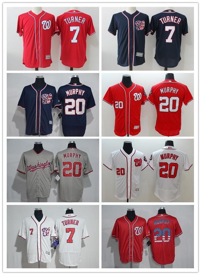 buy online c5ac7 520bd 2018 custom Men women youth Majestic Washington Nationals Jersey 7 Trea  Turner 20 Daniel Murphy Red Grey White Kids Girls Baseball Jerseys