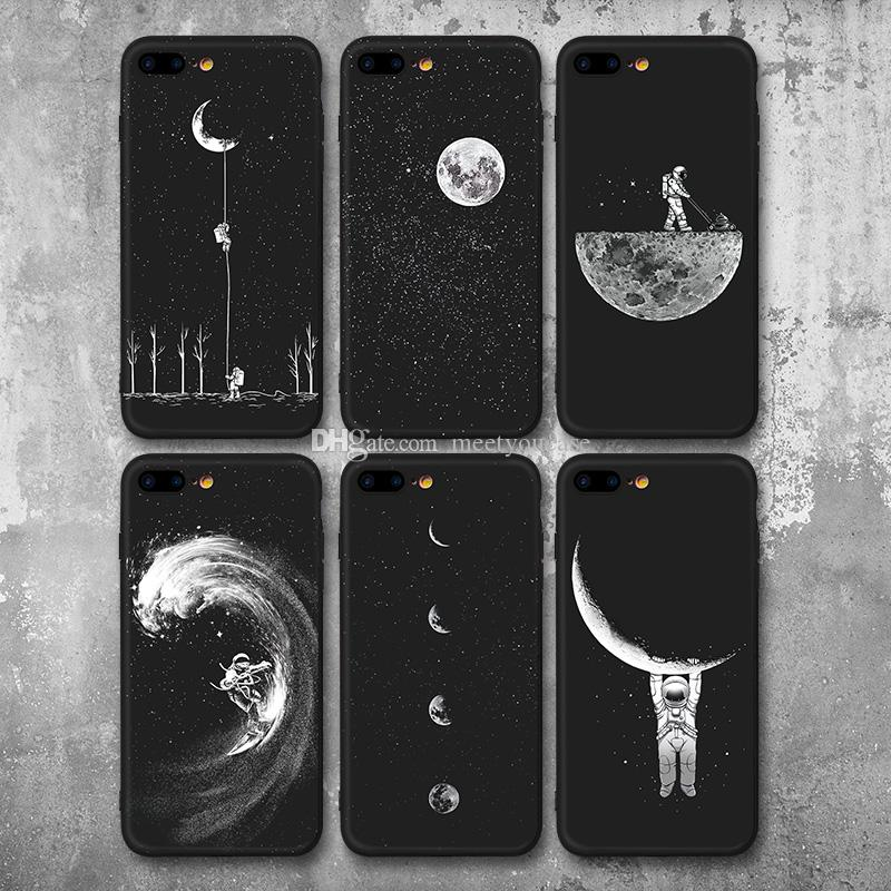 fa7e27656 Space Moon Astronaut Pattern Phone Cases For Iphone 6 6S 7 8 Case For Iphone  6 7 8Plus Planet Star Frosted Soft TPU Silicone Back Cover Leather Phone  Case ...