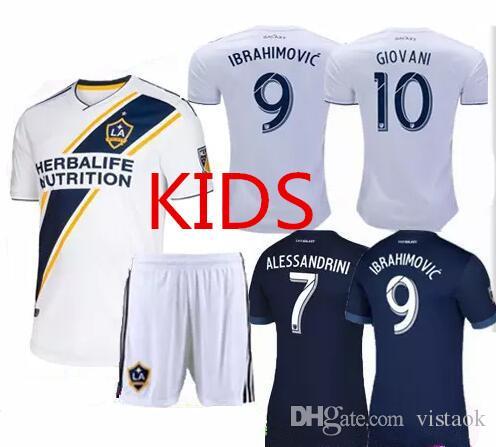 cheap for discount 038d4 1f565 2018 2019 LA Galaxy KIDS Ibrahimovic Soccer jersey short 18 19 GERRARD Los  Angeles ALESSANDRINI GIOVANI ZARDES ROGERS jersey Suit