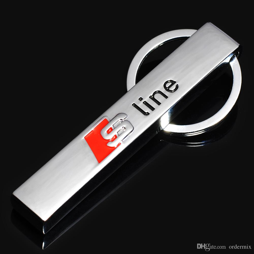 metall s linie auto schlüsselanhänger ring fob auto schlüsselbund für audi  sline rs logo schlüsselanhänger a3 a4 a6 a7 a8 tt rs q5 q7 auto