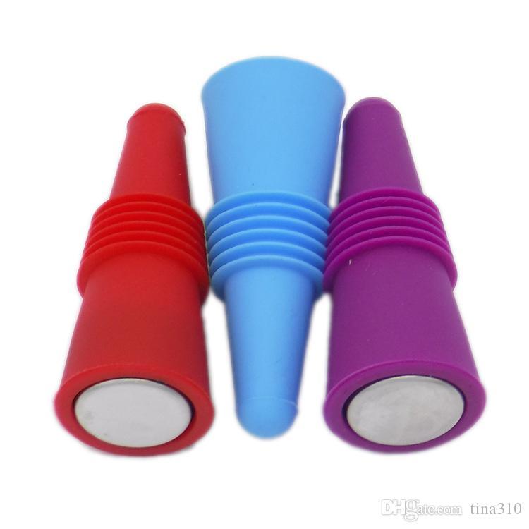 Nw Silikon Yeniden kullanılabilir Şarap Şişe Tıpalar Tutma Paslanmaz Çelik Silikon Likör Bira İçecek tıpa Bar ToolsT2I084 Şişe