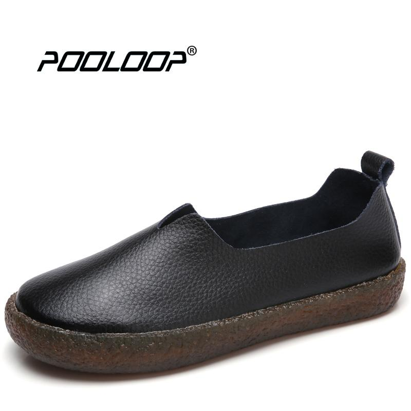 9f95a73ede POOLOOP Big Size Women Casual Ballet Flats Slip On Soft Leather Shoes  Ladies Fashion Designer Shoes Cute Dress Loafers Wide Shoe Mens Boat Shoes  Loafers For ...