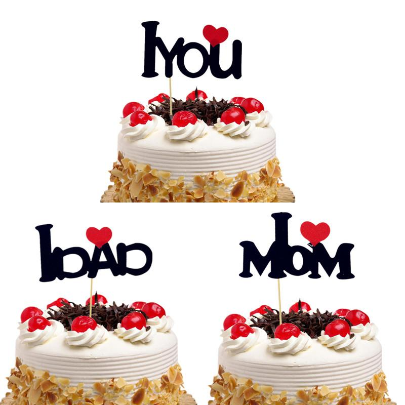 Cake Toppers Flags I Love You I Love Momdad Birthday Cupcake Topper