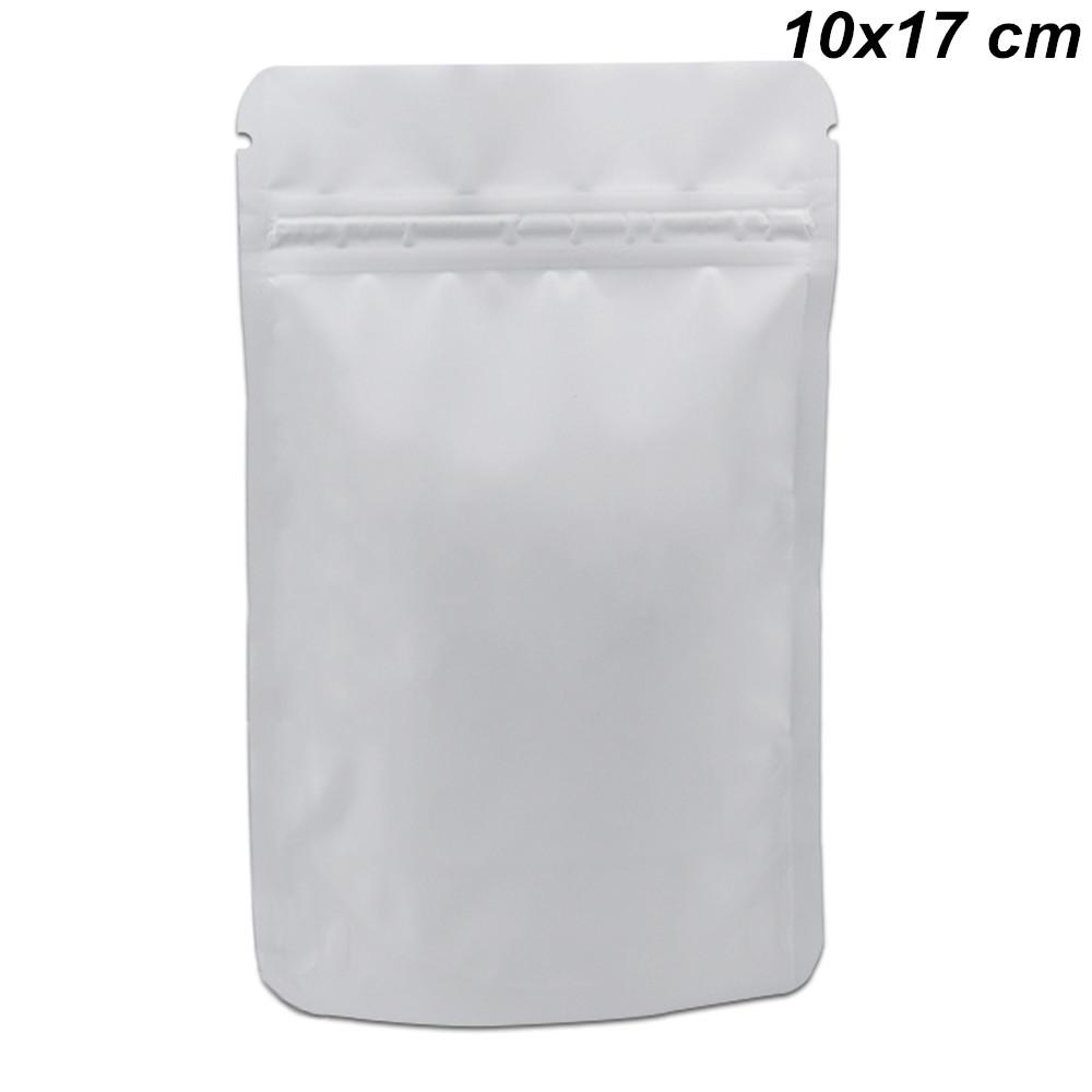 10x17cm White Stand Up Resealable Pure Aluminum Foil Pack Bags Matte Foil Reusable Mylar Zip Lock Zipper Storage Pouch for Dried Fruits Seed