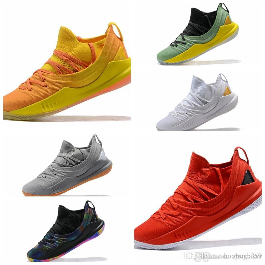 bbb551bfbbb 2019 Desiger Shoe Stephen Curry 5 Low Yellow Orange Welcome Home Low Mens  Basketball Shoes Gold Pack Pi Day Mvp Trainers Runner Training Sneakers  From ...