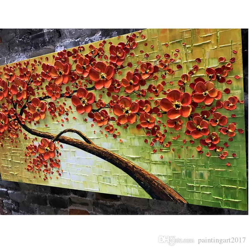 100% Hand Painted Art Oil Painting on Canvas Texture Red 3D Flowers Paintings Modern Home Decor Wall Art Paintings