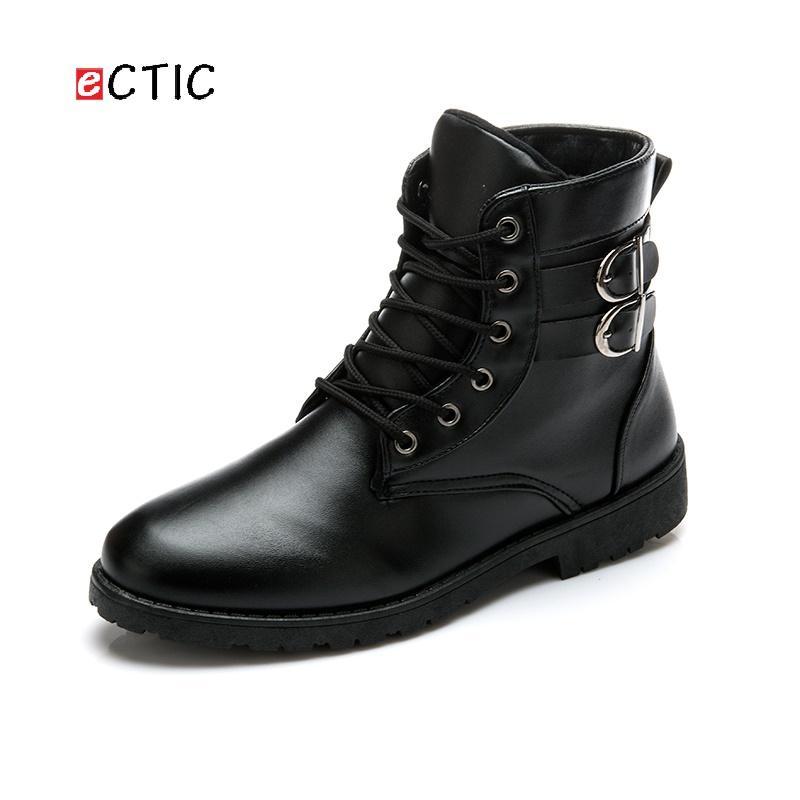 a8e5e7cd41e3a0 Compre ECTIC Otoño Invierno Hombres Botas Vintage Style Casual Hombres  Zapatos De Corte Alto Con Cordones De La Motocicleta Bota Hombre Calcado A  $32.89 Del ...