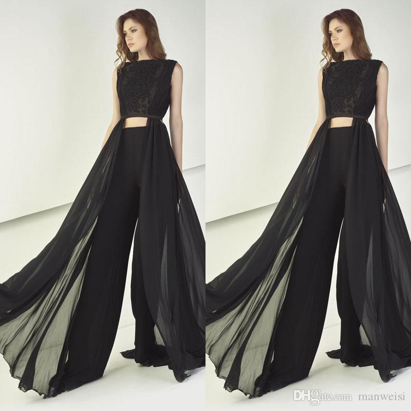 Discount Couture Dresses: Tony Ward 2018 Black Jumpsuits Prom Dresses Sexy Two