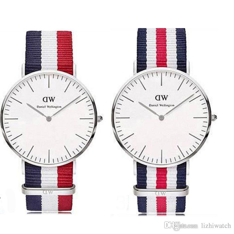 8c96cb9ea3fd 2018 Daniel Wellington Woomen Mens Watches Fashion Nyoln Style Silver 40mm  Mens Watches 36mm Women Watch Dw Luxury Brand Quartz Wristwatches Buying  Watches ...