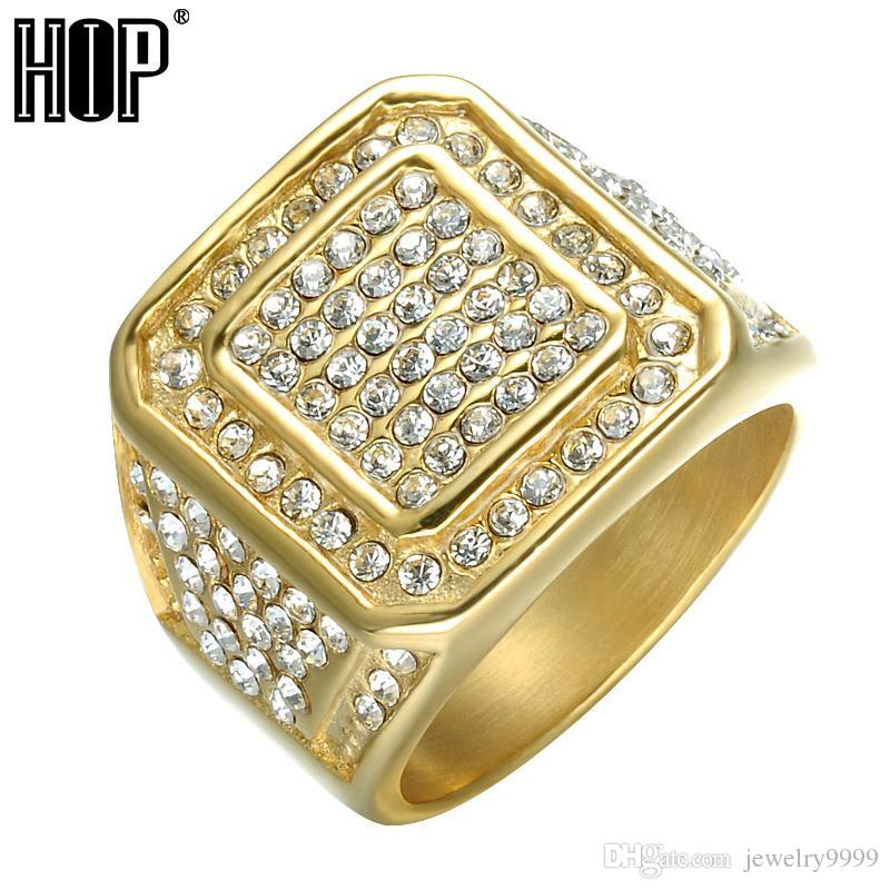 Hop Bling Iced Out Square Crystal Ring Gold Color Stainless Steel