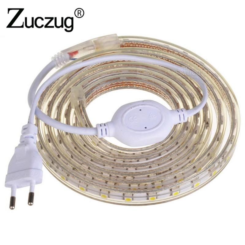 LED Strip light AC 220 volt 5050 Flexible Waterproof ip67 Tape With Power  EU Plug Ribbon for Living Room Kitchen outdoor garden