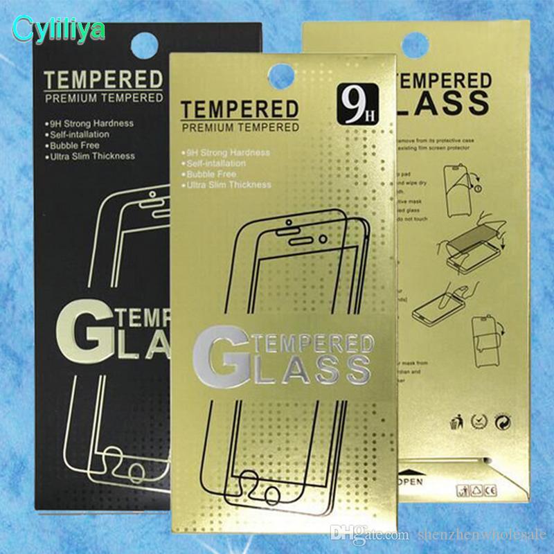 Vuoto protezione dello schermo dell'imballaggio al dettaglio scatole di carta di visualizzazione Imballaggio Premium vetro temperato 9H 2.5D iPhone 5 6 7 Plus