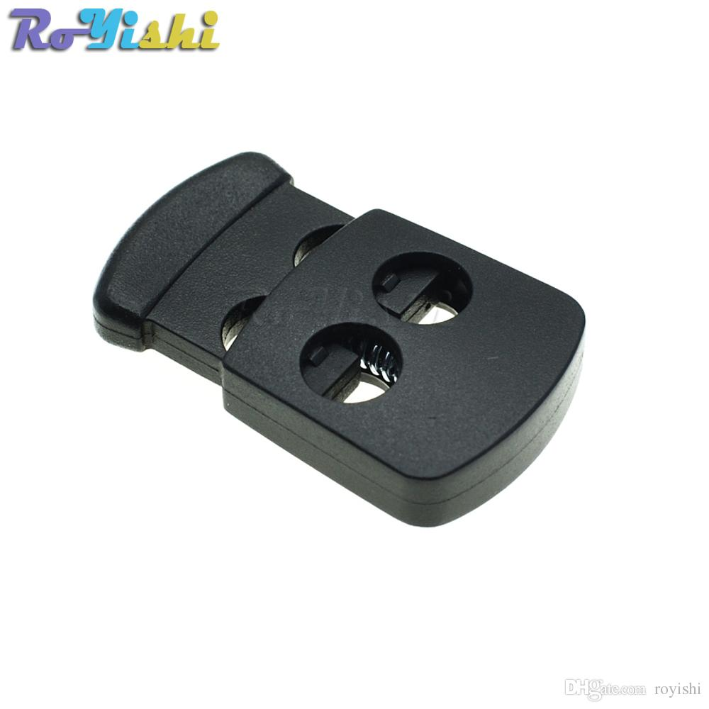 2019 2 Holes Cord Lock Toggle Stopper Plastic Clip Black 30mm1765mm528mm From Royishi 904