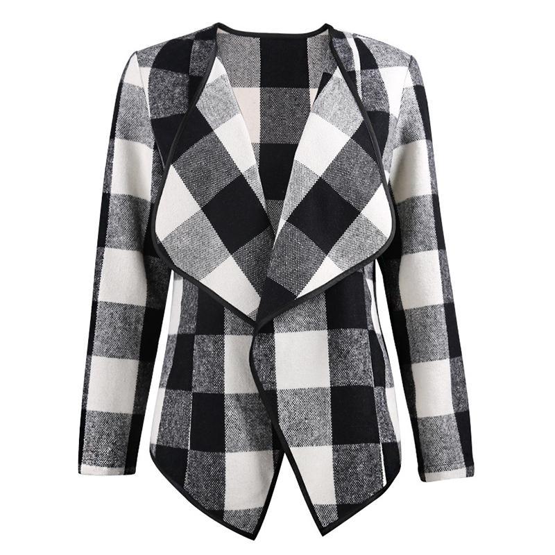 Pantalon Women Coat Checkered Board Black Red Plaid Full Sleeves Top Coat Winter Casaco Casacas Para Mujer Invierno 2018