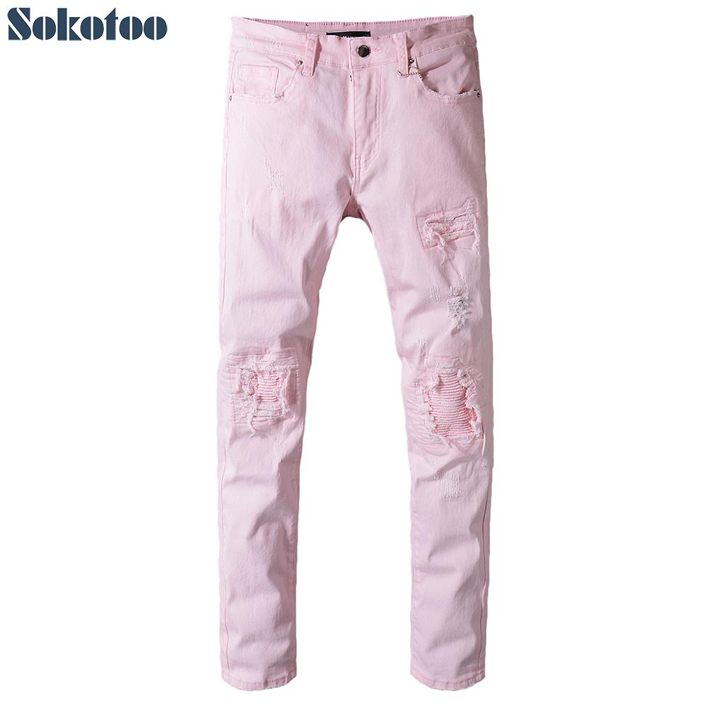 46b2d1d9671 2019 Sokotoo Men'S Pink Denim Pleated Patchwork Slim Skinny Biker Jeans For  Moto Plus Size Ripped Distressed Pants From Vanilla15
