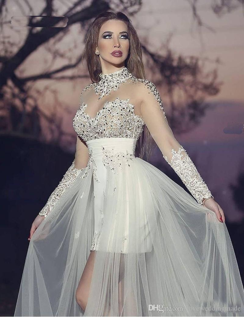 2018 Dubai Arabic Beads Applique Lace Prom Dresses With Detachable Skirt High Neck Long Sleeve Sparkle Bridal Party Gowns Charming