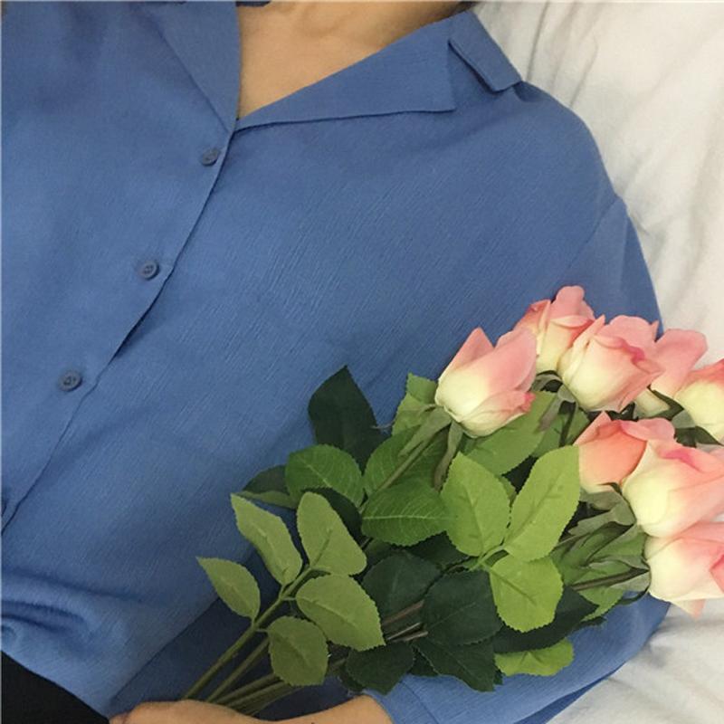 UPPIN 2017 bahar Yeni Saf Renk Uzun Kollu Kadın Bluzlar turuncu Mavi Kadın Gömlek Bayanlar Casual Gömlek Kadın Bir Boyut