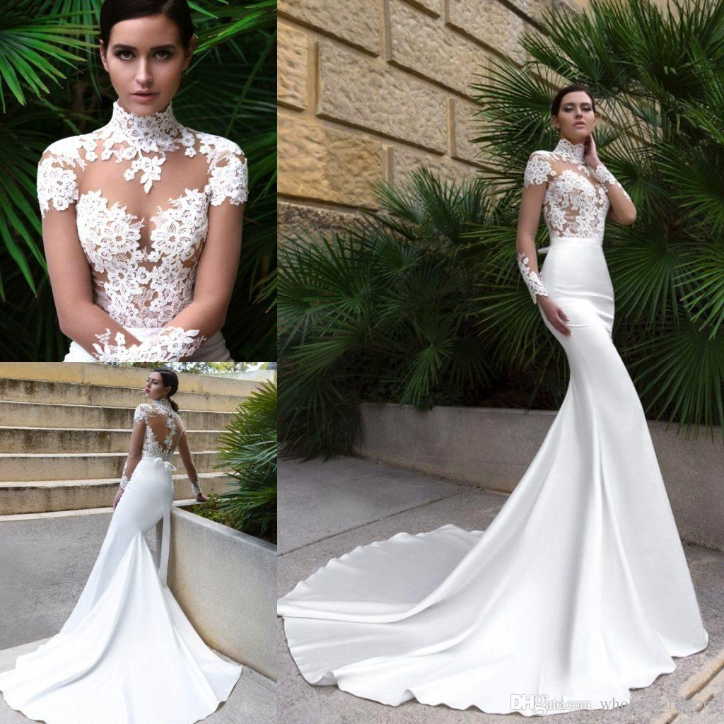 27f4f120d 2018 Elegant High Neck Sheer Long Sleeves Satin Mermaid Wedding Dresses  Tulle Lace Applique Court Train Wedding Bridal Gowns With Bow Sash Vintage  Inspired ...