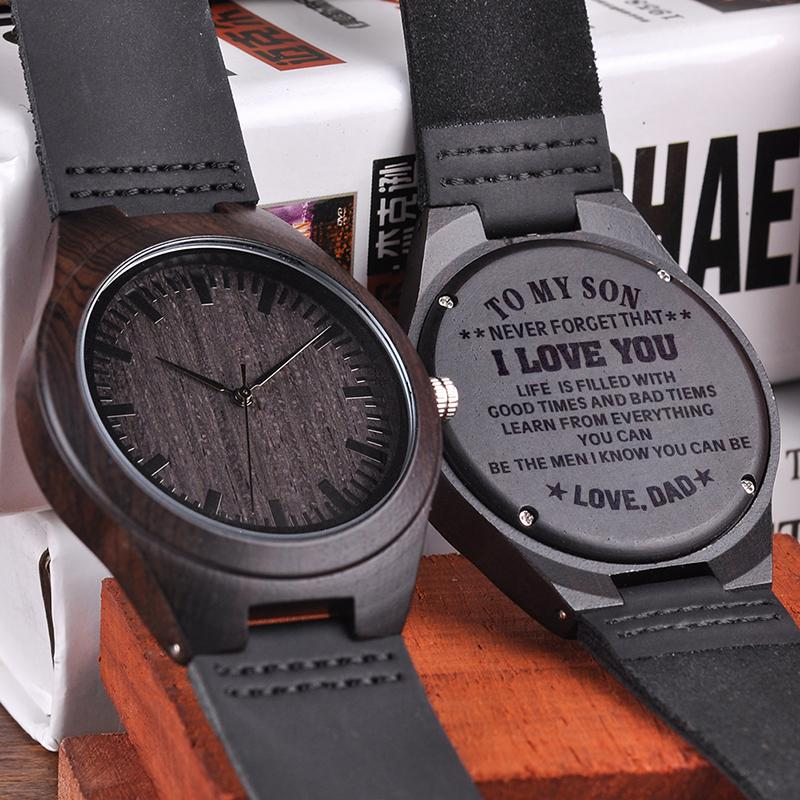 wood engraving men watch family gifts personalized watches special