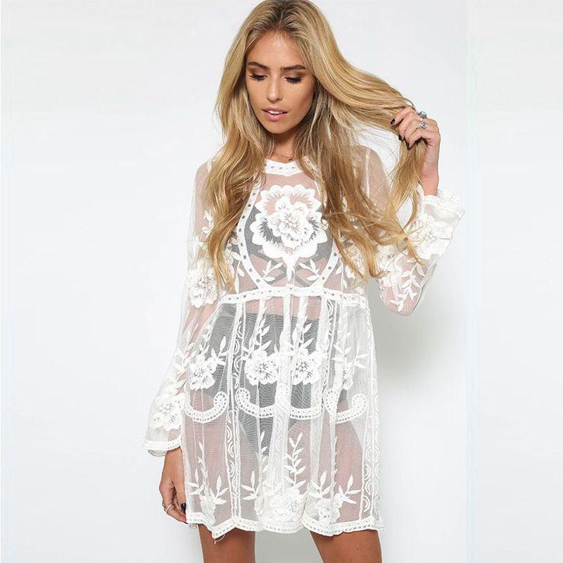 8ce99a3da9 2019 Women Bathing Suit Lace Crochet Bikini Swimwear Cover Up Beach Mini  Dress Long Sleeve Floral Beachwear From Vincant, $36.15 | DHgate.Com