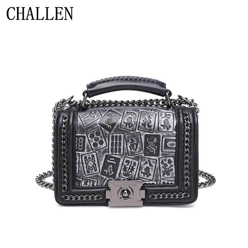 Lingge Chain Bag Female 2018 Luxury Handbags Women Bags Designer Version Of  The New Fashion Wild Mahjong Print Diagonal Package Travel Purse Branded ... 71fa1e5137