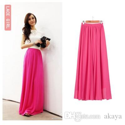 5a1376f21503 2019 SK71 Long Skirt Elegant Style Women Pastel Jupe Pleated Chiffon Maxi  Skirts Floor Length Saia Vintage Saias Womens Solid Faldas From Akaya, ...