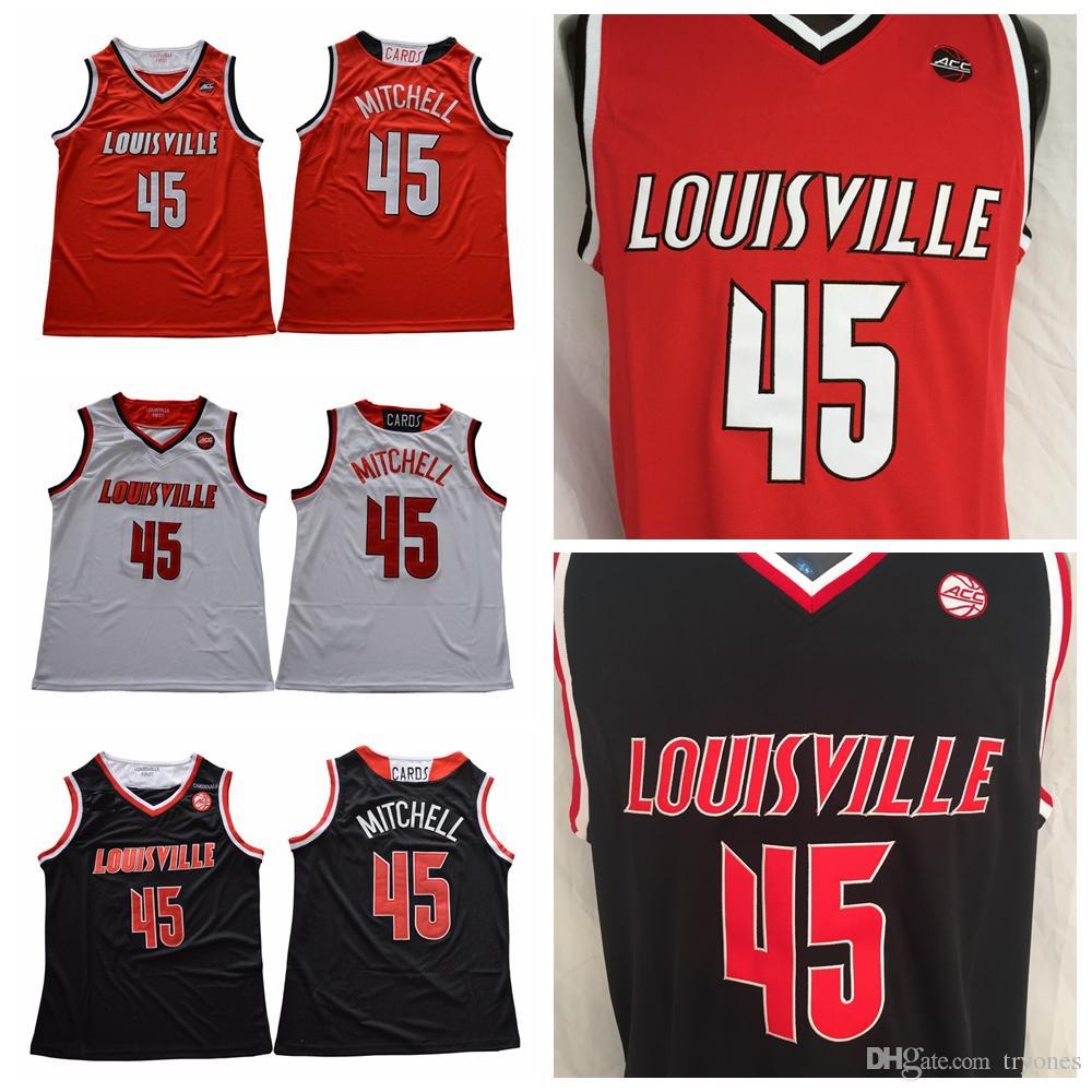 15b96ce536c Acheter Hommes Louisville Cardinals Donovan Mitchell College Maillots De  Basket Ball Rouge Pas Cher Noir 45 Donovan Mitchell Cousu University Shirts  S XXL ...