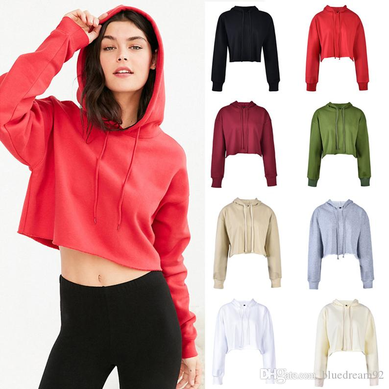 0e1e7bb070a4 2019 New Cotton Womens Hoodies Short Navel Designer Hoodie Sweater Fashion  Edging Sweatshirts Multi Color Women Clothes Brand Sweatshirt From  Bluedream92